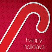 """Cut out """"Happy Holidays"""" candy cane card in vector format. - stock illustration"""