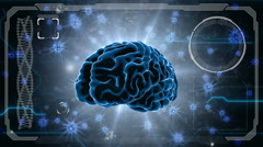 Brain impulses. Neuron system. Human anatomy. HUD background Stock Footage