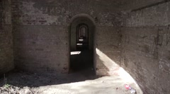 Corridor in a military fort Stock Footage
