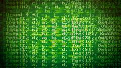 Computer program chaotic code green Stock Footage