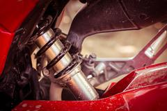 Shock absorber of motorcycle Stock Photos