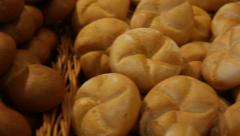 Fresh buns in a basket Stock Footage