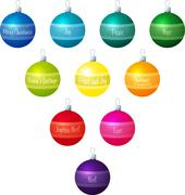 A vector illustration of coloured Christmas baubles - stock illustration