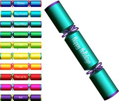 Christmas crackers with words in a variety of colours on a white background. Stock Illustration