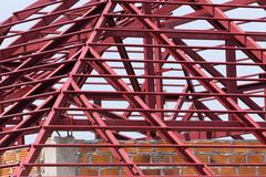 Structural steel beam on roof of building residential construction Stock Photos