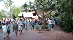 Central square full of visitors is near the Loro Show pavilion in Loro Park Stock Footage