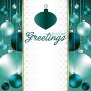Christmas baubles invitation card in vector format. - stock illustration