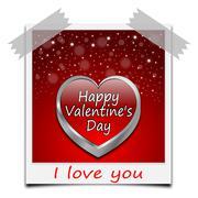 Happy Valentine's Day on instant photo Stock Illustration