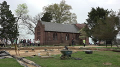 Jamestown Virgina historic church archaeology dig HD Stock Footage