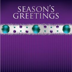 Bauble and tinsel garland Christmas card in vector format. Stock Illustration
