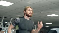Enjoying Treadmill Workout Stock Footage