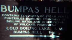 1971: Bumpas Hell wasteland volcanic steam vents hot pools. - stock footage