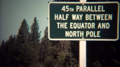 1971: 45th parallel halfway between equator and north pole. - stock footage