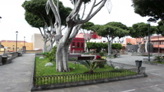Central square is near an old church of Saint Anna, Garachico, Tenerife Stock Footage