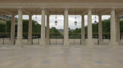 View of the Galerie du Jardin of Palais Royal in Paris Stock Footage