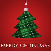 Tartan Christmas tree bauble card in vector format. - stock illustration