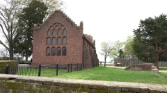 Jamestown Virgina historic church wall HD Stock Footage