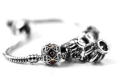 silver bracelet with stones - stock photo