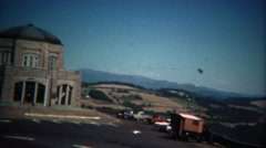 1971: Driving to the sacred religious temple building on sunny day. Stock Footage