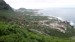 Top review of northern coast of Tenerife island. Hairpin road to Garachico town Stock Footage