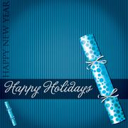 Happy Holidays bubble cracker card in vector format. - stock illustration