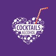 alcoholic cocktails logo - stock illustration