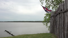 Jamestown Virgina historic colonial town fence British flag HD Stock Footage