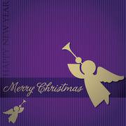 """Stock Illustration of """"Merry Christmas"""" Angel card in vector format."""