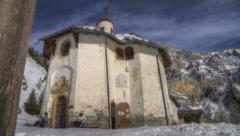 HDR Timelapse of a chapel in the Alps Stock Footage