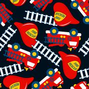 Fire Rescue with red helmet and truck seamless pattern Stock Illustration