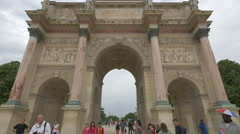 Low angle view of Arc de Triomphe du Carrousel in Paris - stock footage