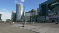 Walking near the Les Quatre Temps and skyscrapers in La Défense, Paris Stock Footage
