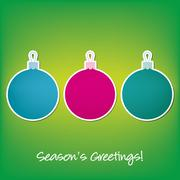 Season's Greetings sticker bauble card in vector format. Stock Illustration