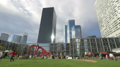 Running and making sport in La Défense, Paris Stock Footage
