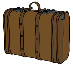 Old leather suitcase - stock illustration
