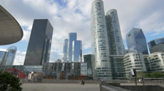 Modern skyscrapers in La Défense, Paris Stock Footage