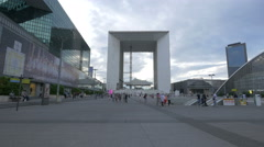 Walking next to the metro station entrance, in La Défense, Paris Stock Footage