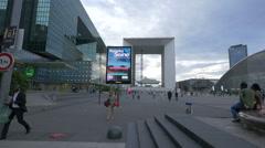 Electronic billboard near La Défense, Paris Stock Footage