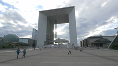 Stock Video Footage of Great view of La Grande Arche on a cloudy day in La Défense, Paris