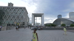 Stock Video Footage of View of Les Quatre Temps, La Grande Arche and The Cnit, in La Défense, Paris