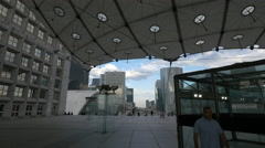 Canopy beneath La Grande Arche in La Défense, Paris Stock Footage