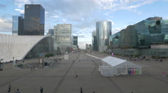 Central esplanade, view from Grande Arche, La Défense, Paris Stock Footage