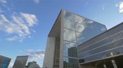 Installation art next to the La Grande Arche in La Défense, Paris Stock Footage