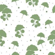 Seamless pattern branches and leaves of ginkgo biloba Stock Illustration