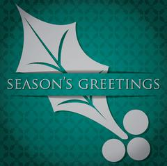 "Silver Holly ""Season's Greetings"" card in vector format. - stock illustration"