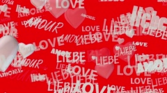 Inscriptions Love in various languages with hearts in red on white Stock Footage
