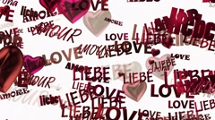 Inscriptions Love in various languages with hearts in dark red Stock Footage