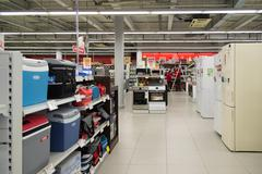 Moscow, Russia - February 02. 2016. Interior of Eldorado is large chain stores - stock photo