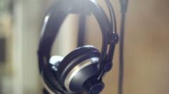 Studio headphones microphone - stock footage