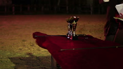 Jury reading aloud names of cup winners, awarding ceremony after competition Stock Footage